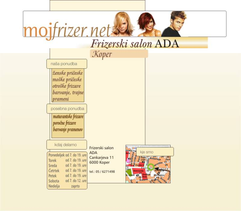 Frizerski salon ada koper for Ada salon vacaresti